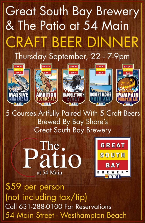 The Patio At 54 Main/Great South Bay Brewery Pairing Menu And Beer List  Preview (9/22)   Long Island Pulse Magazine