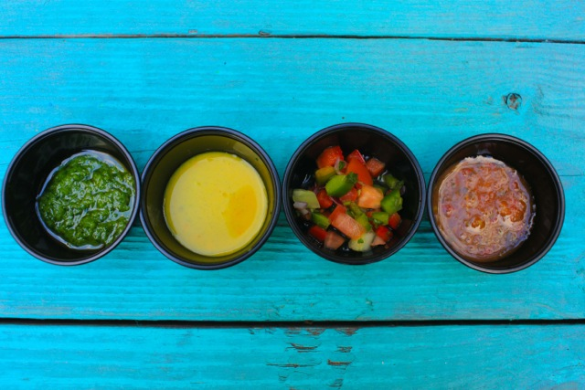 Take your pick of sauces, just watch out for the one with the ghost pepper. image: lolo's seafood shack